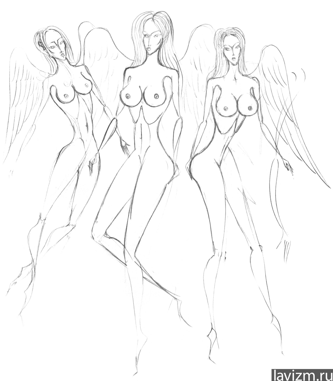 Рисованные девушки голые в карандаше 24 фотография